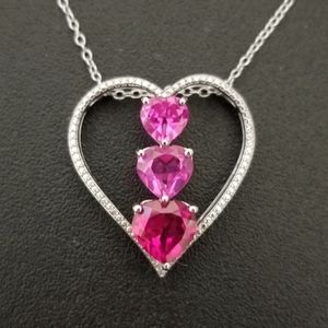Real 925 Sterling Silver Gem Diamond Necklace